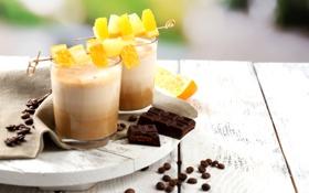 Обои батончик, зерна, шоколад, апельсин, коктейль, кофе, сладкое