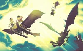 Обои дракон, летательный апарат, злодеи