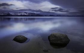 Обои снег, горы, природа, озеро, отражение