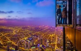 Картинка city, огни, небоскребы, вечер, Чикаго, USA, Chicago