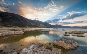 Картинка закат, камни, California, Lee Vining, горы, озеро, Mammoth Lakes