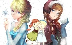 Картинка снег, девушки, арт, объятия, белый фон, снежинка, frozen