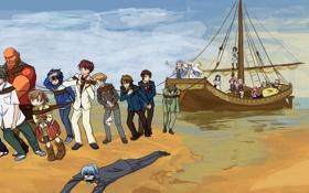 Картинка море, корабль, Аниме