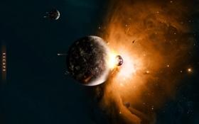 Картинка планета, катастрофа, астероид, удар, спутники, звездолеты, impact