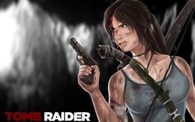 Обои девушка, лицо, пистолет, оружие, фон, надпись, игра