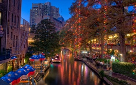 Картинка Christmas, Lights, usa, Texas, Техас, San Antonio, Сан-Антонио