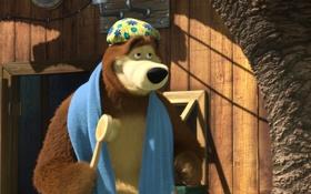 Обои мультфильм, полотенце, маша и медведь, мочалка