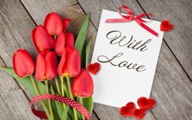 Картинка любовь, букет, сердечки, тюльпаны, red, flowers, romantic
