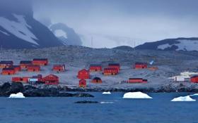 Обои Антарктида, дома, туман, океан, горы, снег, база Есперанса