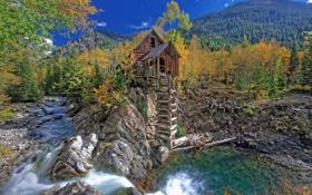 Картинка США, река, ручей, Crystal Mill, осень, деревья, горы