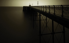 Обои темнота, пирсы, фото, океан, вода, вечер, море