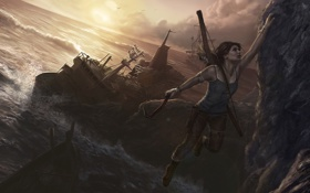 Картинка скала, океан, игра, корабль, лук, арт, Tomb Raider