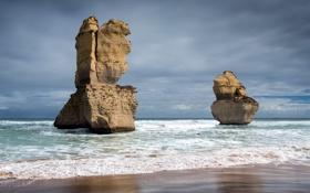 Обои море, пейзаж, скалы, Australia, Victoria, Great Ocean Road