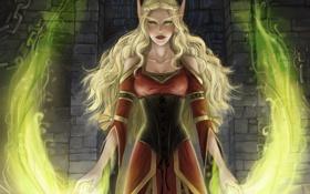 Обои девушка, магия, эльф, арт, эльфийка, wow, world of warcraft