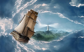 Картинка небо, облака, маяк, корабль
