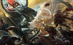 Обои оружие, дракон, войны, арт, монстры, битва