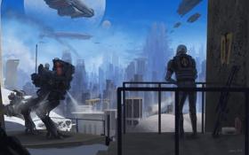 Обои город, оружие, люди, дым, планета, робот, корабли