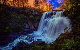 Картинка закат, Огайо, поток, водопад, Cuyahoga Valley National Park, Ohio, Brandywine Falls