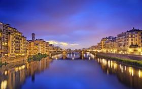 Обои мост, река, дома, Италия, Флоренция, Арно