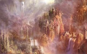 Картинка пейзаж, птицы, замок, водопад, Aion