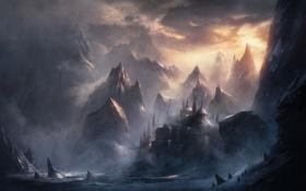 Картинка море, облака, горы, город, туман, скалы, арт