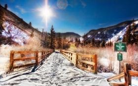Картинка зима, солнце, снег, горы, природа, дорожка, Аспен