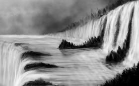 Обои лес, река, водопад