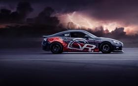 Обои Subaru, Clouds, Lightning, Side, BRZ, Attack, Peak