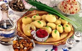 Обои грибы, лук, скатерть, картофель