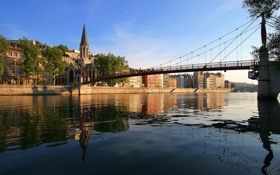 Обои мост, город, река