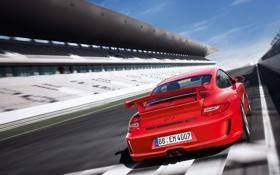Обои авто, лето, гонка, трасса, старт, Porsche 911 GT3