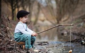 Обои природа, игра, рыбалка, мальчик, удочка