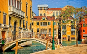 Обои мост, дерево, дома, Италия, фонарь, Венеция, канал