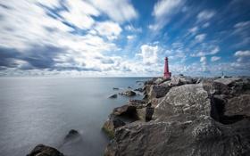 Обои море, камни, маяк