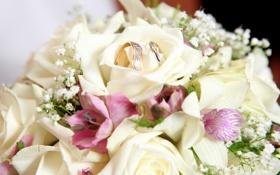 Обои цветы, букет, flowers, обручальные кольца, bouquet, wedding rings