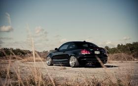 Обои фото, bmw, black, cars, auto, 135i, вид с зади