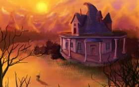 Картинка небо, трава, солнце, закат, горы, дом, Мальчик