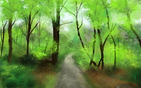 Обои лес, деревья, природа, арт, дорожка, тропинка