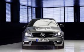 Картинка Mercedes-Benz, Авто, Серый, Фары, AMG, Номер, C63