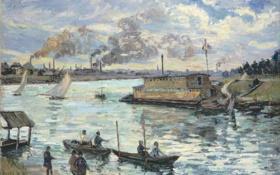 Обои пейзаж, трубы, лодка, дым, картина, парус, Арман Гийомен
