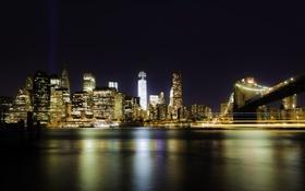 Обои свет, ночь, мост, город, огни, блики, отражение