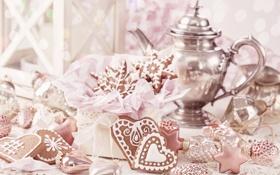 Картинка table, новый год, сердца, new year, Счастливого Рождества, hearts, украшения