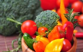 Обои зелень, перец, овощи, помидоры, морковь, брокколи
