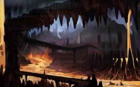 Обои пещера, подземелье, лава, арт, силуэт, мост, человек
