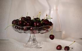 Обои ягоды, ваза, черешня