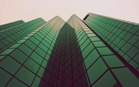 Обои зеленый, высотки, Дома, reflect, стекло