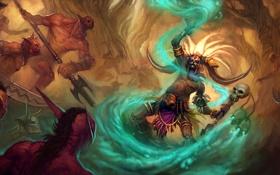 Обои магия, меч, маска, монстры, посох, diablo 3, шаман