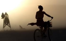 Обои девушка, велосипед, туман, утро