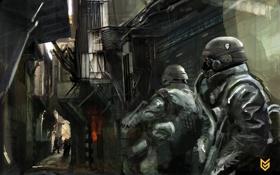 Обои солдаты, люди, маски, Killzone 2, игра, улица, оружие