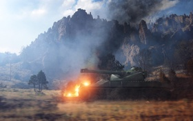 Картинка поле, огонь, Франция, танк, танки, France, WoT